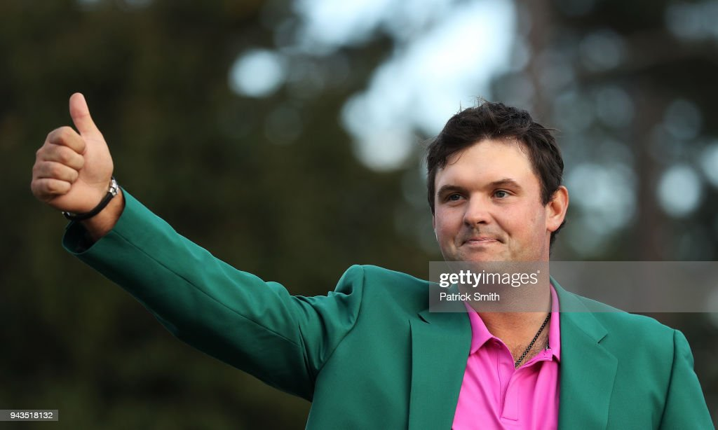 Patrick Reed of the United States celebrates during the green jacket ceremony after winning the 2018 Masters Tournament at Augusta National Golf Club on April 8, 2018 in Augusta, Georgia.