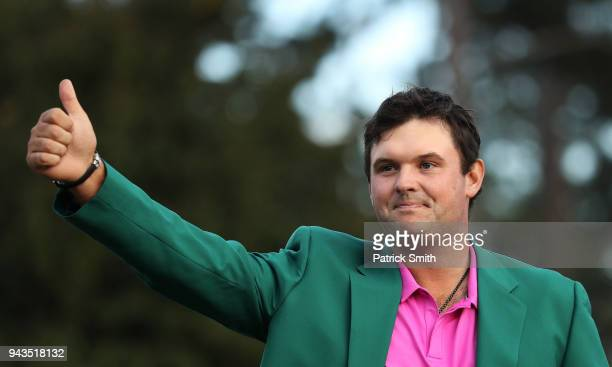 Patrick Reed of the United States celebrates during the green jacket ceremony after winning the 2018 Masters Tournament at Augusta National Golf Club...