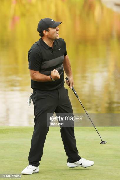 Patrick Reed of the United States celebrates his birdie on the 17th green during the final round of the World Golf Championships Mexico Championship...