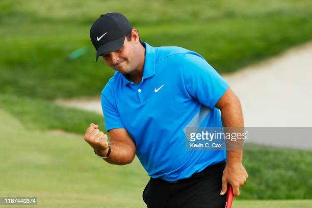 Patrick Reed of the United States celebrates on the 15th green during the final round of The Northern Trust at Liberty National Golf Club on August...