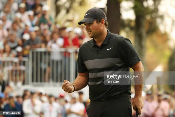 Patrick Reed of the United States celebrates on the 18th green after winning during the final round of the World Golf Championships Mexico...