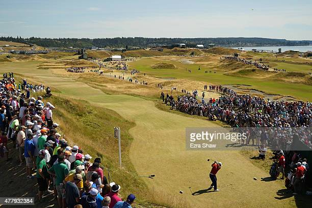 Patrick Reed of the United States his tee shot on the sixth hole during the third round of the 115th US Open Championship at Chambers Bay on June 20...