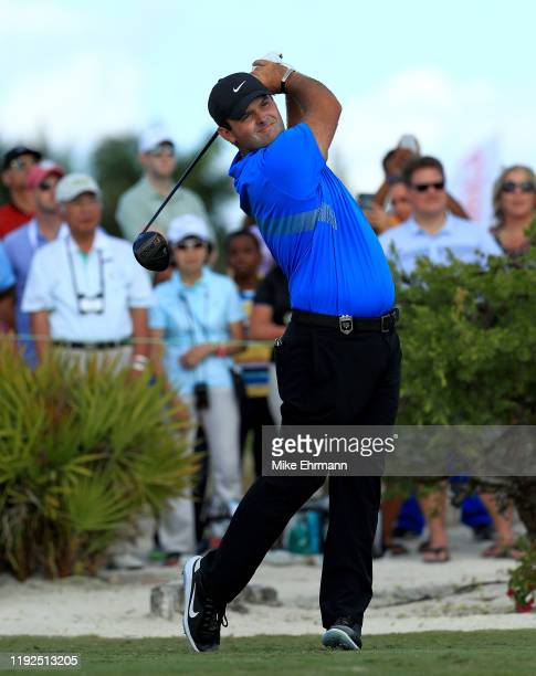 Patrick Reed of the United States hits is tee shot on the first hole during the final round of the Hero World Challenge at Albany on December 07,...