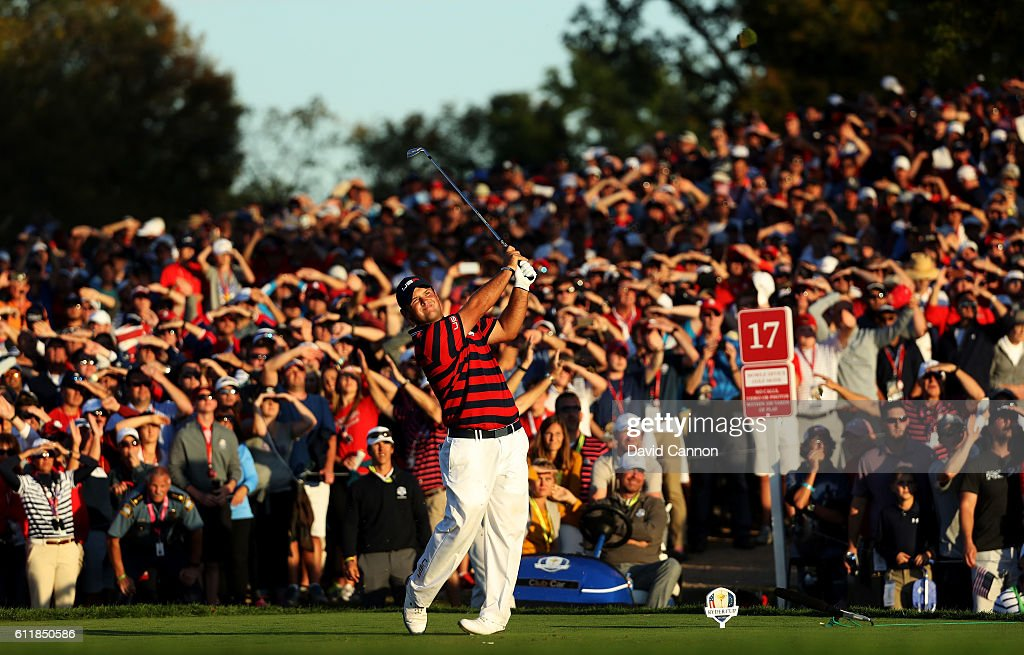 Patrick Reed of the United States hits off the 17th tee during afternoon fourball matches of the 2016 Ryder Cup at Hazeltine National Golf Club on October 1, 2016 in Chaska, Minnesota.