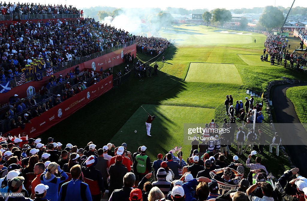 Patrick Reed of the United States hits off the first tee during morning foursome matches of the 2016 Ryder Cup at Hazeltine National Golf Club on October 1, 2016 in Chaska, Minnesota.