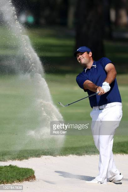 Patrick Reed of the United States plays a shot from a bunker on the ninth hole during the second round of the World Golf Championships Mexico...
