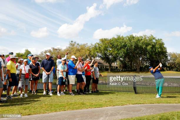 Patrick Reed of the United States plays a shot on the sixth hole during the first round of the Arnold Palmer Invitational Presented by MasterCard at...