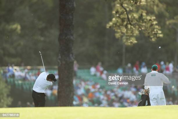 Patrick Reed of the United States plays his second shot on the 15th hole during the second round of the 2018 Masters Tournament at Augusta National...