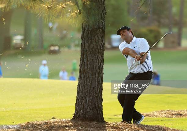 Patrick Reed of the United States plays his second shot on the 17th hole during the second round of the 2018 Masters Tournament at Augusta National...