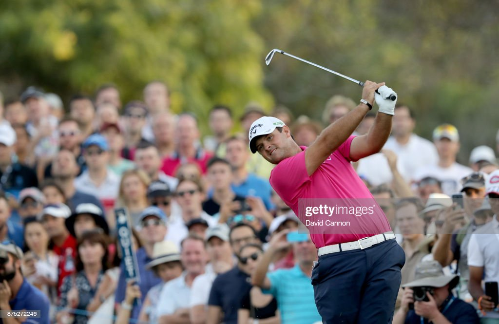 Patrick Reed of the United States plays his second shot on the 18th hole during the second round of the DP World Tour Championship on the Earth Course at Jumeirah Golf Estates on November 17, 2017 in Dubai, United Arab Emirates.