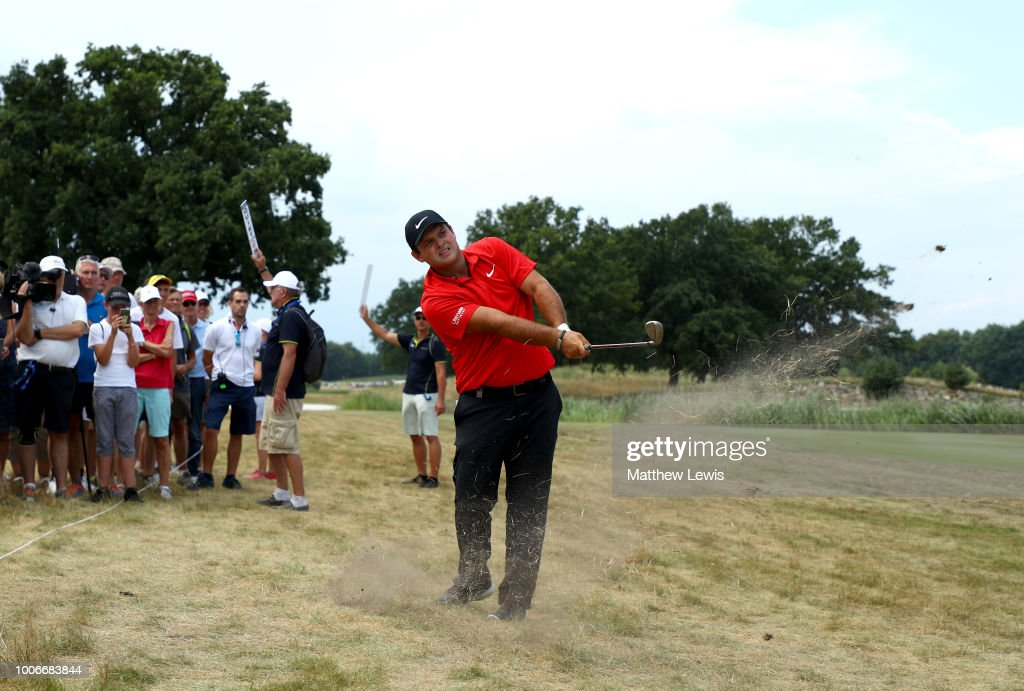 Patrick Reed of the United States plays his second shot on the 9th hole during day three of the Porsche European Open at Green Eagle Golf Course on July 28, 2018 in Hamburg, Germany.