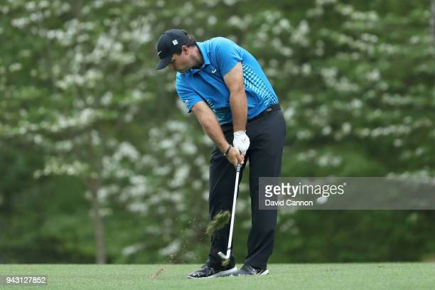 Patrick Reed of the United States plays his second shot on the fifth hole during the third round of the 2018 Masters Tournament at Augusta National...