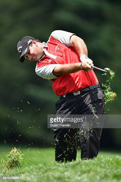Patrick Reed of the United States plays his second shot on the seventh hole during the second round of the 2016 PGA Championship at Baltusrol Golf...