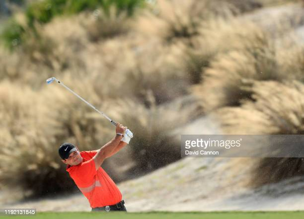 Patrick Reed of the United States plays his second shot on the third hole during the second round of the 2019 Hero World Challenge at Albany on...