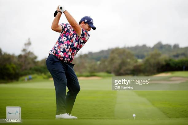 Patrick Reed of the United States plays his shot from the 14th tee during the second round of the Sentry Tournament Of Champions at the Kapalua...