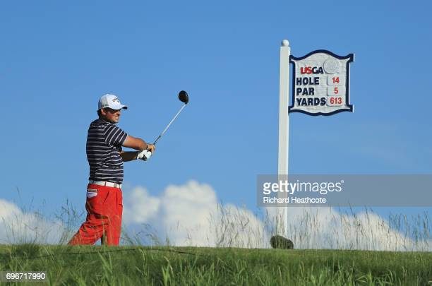Patrick Reed of the United States plays his shot from the 14th tee during the second round of the 2017 U.S. Open at Erin Hills on June 16, 2017 in...