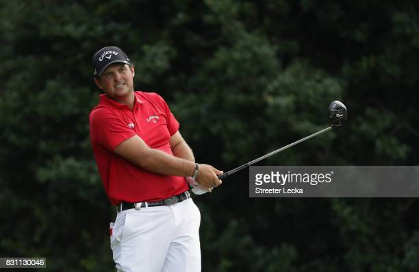 Patrick Reed of the United States plays his shot from the 14th tee during the final round of the 2017 PGA Championship at Quail Hollow Club on August...