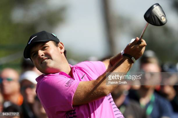 Patrick Reed of the United States plays his shot from the eighth tee during the final round of the 2018 Masters Tournament at Augusta National Golf...