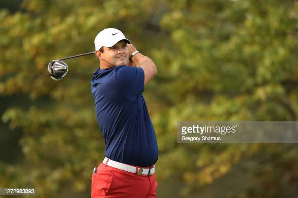 Patrick Reed of the United States plays his shot from the first tee during the first round of the 120th U.S. Open Championship on September 17, 2020...