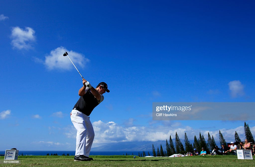 Patrick Reed of the United States plays his shot from the first tee during the first round of the SBS Tournament of Champions at the Plantation Course at Kapalua Golf Club on January 5, 2017 in Lahaina, Hawaii.