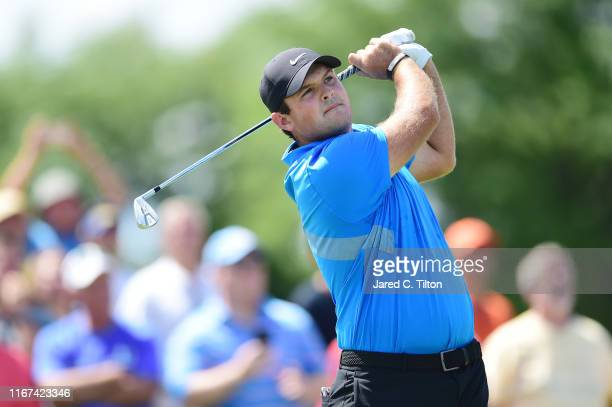 Patrick Reed of the United States plays his shot from the fourth tee during the final round of The Northern Trust at Liberty National Golf Club on...