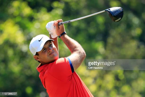 Patrick Reed of the United States plays his shot from the ninth tee during the first round of the Valspar Championship on the Copperhead course at...