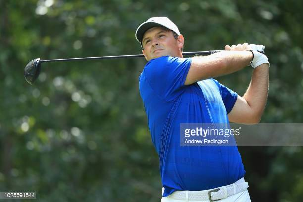 Patrick Reed of the United States plays his shot from the second tee during the first round of the Dell Technologies Championship at TPC Boston on...