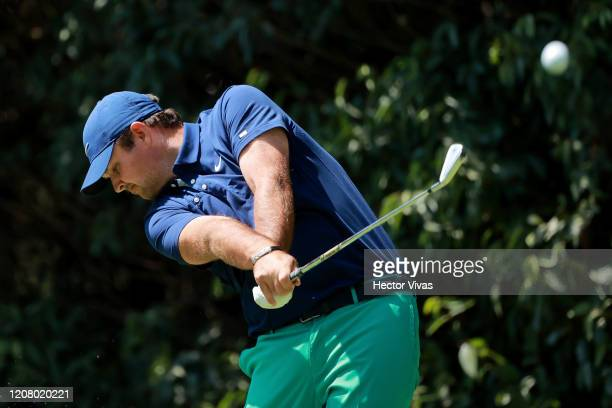 Patrick Reed of the United States plays his shot from the second tee during the third round of the World Golf Championships Mexico Championship at...