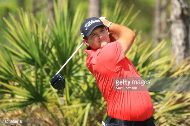 Patrick Reed of the United States plays his shot from the second tee during the final round of World Golf Championships-Workday Championship at The...