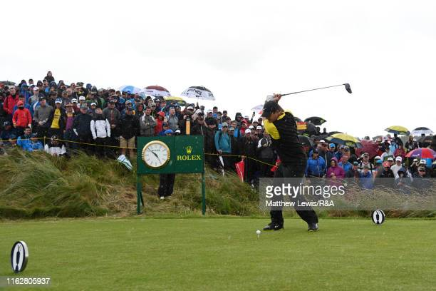 Patrick Reed of the United States plays his shot from the seventh tee during the first round of the 148th Open Championship held on the Dunluce Links...