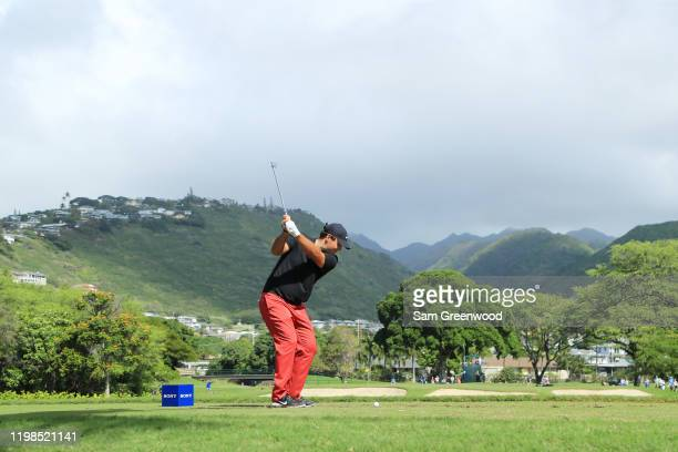 Patrick Reed of the United States plays his shot from the seventh tee during the first round of the Sony Open in Hawaii at the Waialae Country Club...