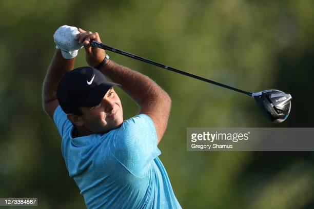 Patrick Reed of the United States plays his shot from the sixth tee during the second round of the 120th U.S. Open Championship on September 18, 2020...