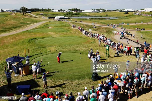 Patrick Reed of the United States plays his shot from the tenth tee during the second round of the 2017 U.S. Open at Erin Hills on June 16, 2017 in...