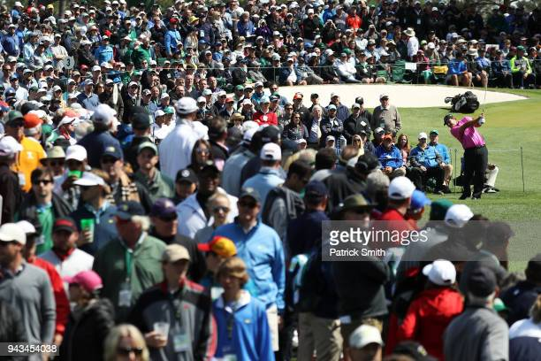Patrick Reed of the United States plays his shot from the third tee during the final round of the 2018 Masters Tournament at Augusta National Golf...