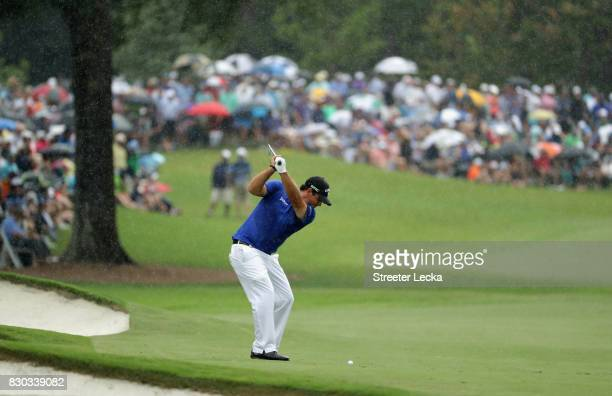 Patrick Reed of the United States plays his shot on the seventh hole during the second round of the 2017 PGA Championship at Quail Hollow Club on...