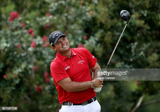 Patrick Reed of the United States plays his tee shot on the par 4 second hole during the final round of the 2017 PGA Championship at Quail Hollow on...