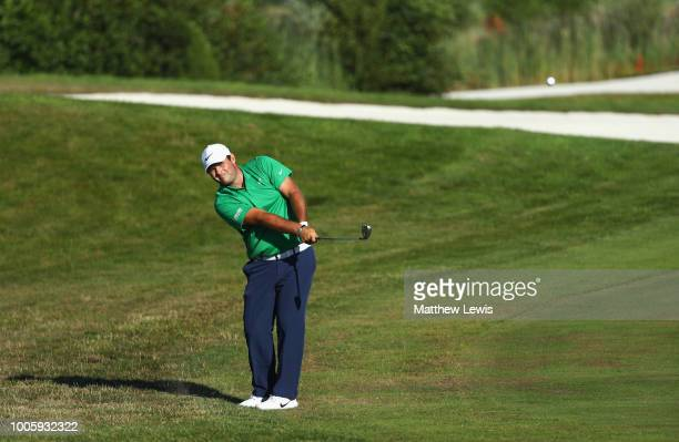 Patrick Reed of the United States plays his third shot on the 11th hole during day two of the Porsche European Open at Green Eagle Golf Course on...