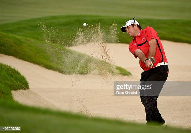Patrick Reed of the United States plays his third shot on the 18th hole during the playoff with Kristoffer Broberg of Sweden during the final round...