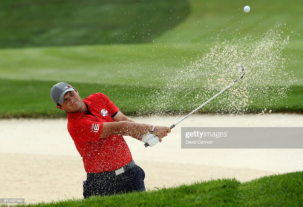 Patrick Reed of the United States plays his third shot on the ninth hole during morning foursome matches of the 2016 Ryder Cup at Hazeltine National Golf Club on September 30, 2016 in Chaska, Minnesota.