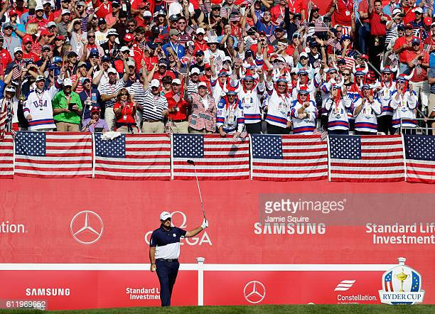 Patrick Reed of the United States prepares to hit off the first tee during singles matches of the 2016 Ryder Cup at Hazeltine National Golf Club on...