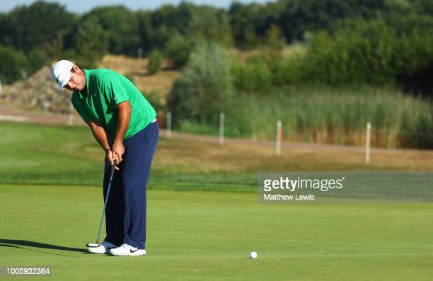 Patrick Reed of the United States putts on the 11th green during day two of the Porsche European Open at Green Eagle Golf Course on July 27 2018 in...