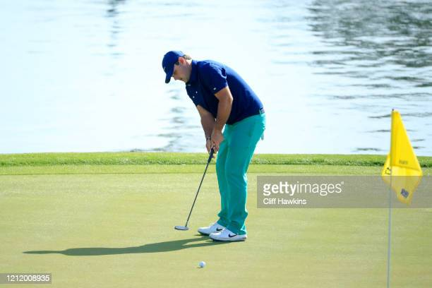 Patrick Reed of the United States putts on the 17th green during the first round of The PLAYERS Championship on The Stadium Course at TPC Sawgrass on...