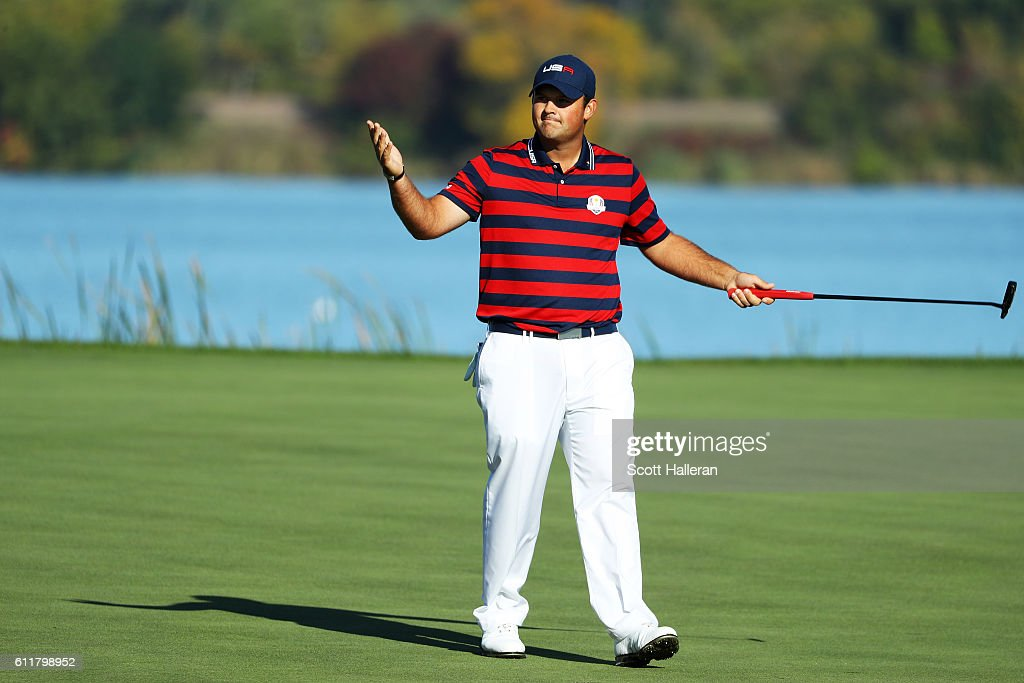 Patrick Reed of the United States reacts after a putt on the seventh green during morning foursome matches of the 2016 Ryder Cup at Hazeltine National Golf Club on October 1, 2016 in Chaska, Minnesota.