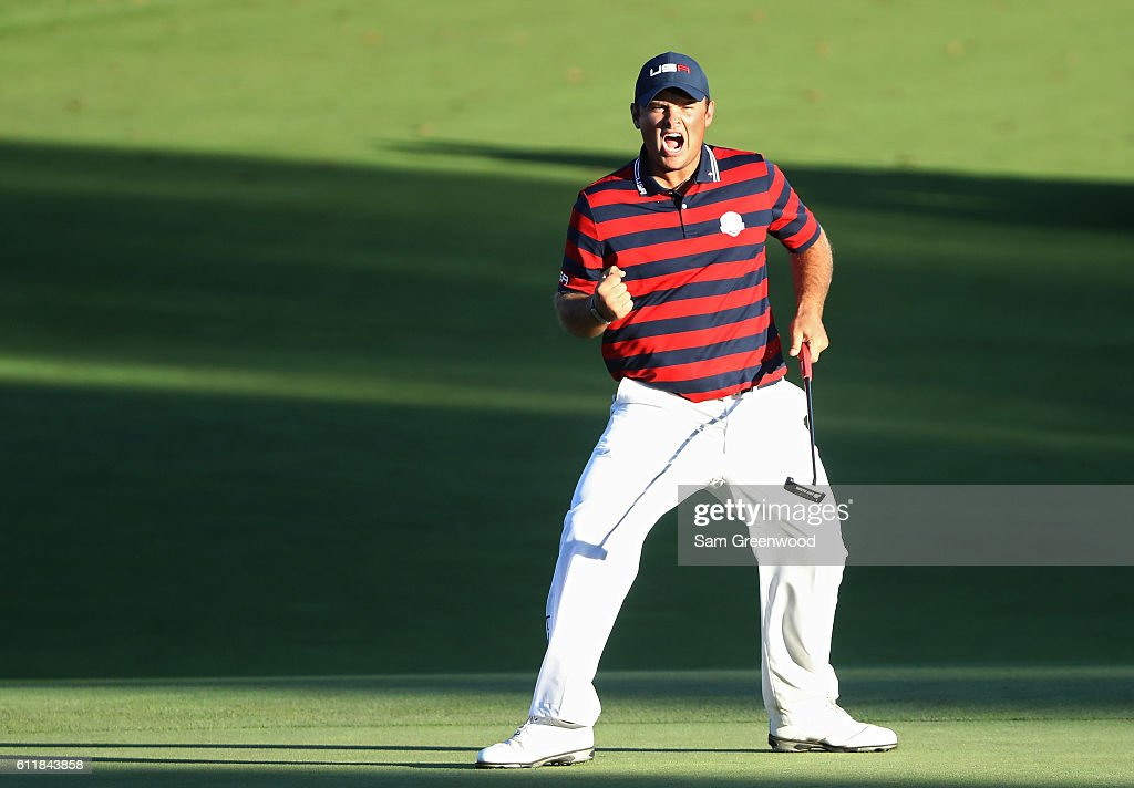 Patrick Reed of the United States reacts on the 15th green during afternoon fourball matches of the 2016 Ryder Cup at Hazeltine National Golf Club on October 1, 2016 in Chaska, Minnesota.