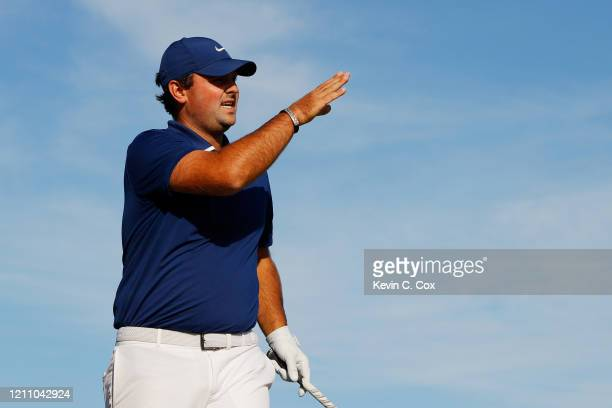Patrick Reed of the United States reacts on the 15th tee during the third round of the Arnold Palmer Invitational Presented by MasterCard at the Bay...
