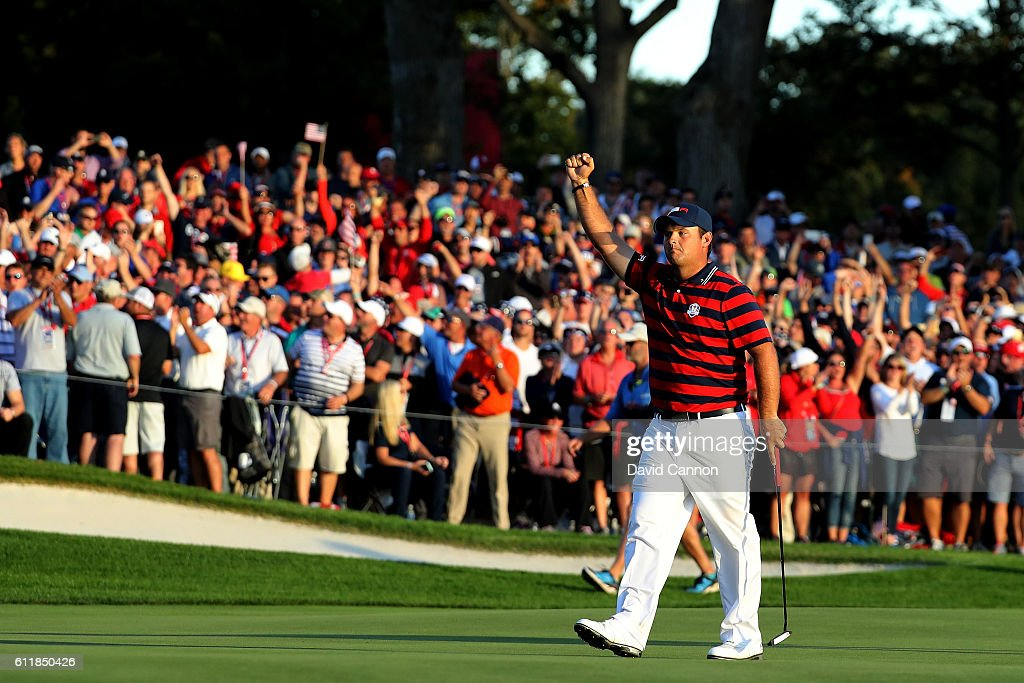 Patrick Reed of the United States reacts on the 16th green during afternoon fourball matches of the 2016 Ryder Cup at Hazeltine National Golf Club on October 1, 2016 in Chaska, Minnesota.