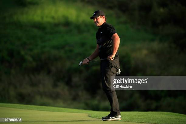 Patrick Reed of the United States reacts on the 18th green during a playoff during the final round of the Sentry Tournament Of Champions at the...