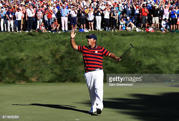 Patrick Reed of the United States reacts on the eighth green during afternoon fourball matches of the 2016 Ryder Cup at Hazeltine National Golf Club...