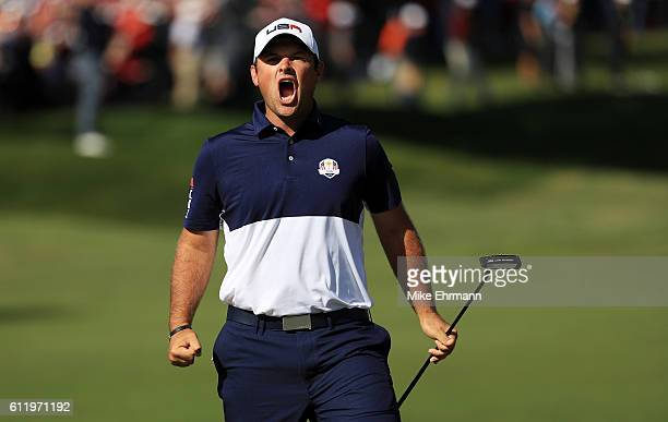 Patrick Reed of the United States reacts on the first green during singles matches of the 2016 Ryder Cup at Hazeltine National Golf Club on October 2...