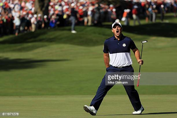 Patrick Reed of the United States reacts on the first green during singles matches of the 2016 Ryder Cup at Hazeltine National Golf Club on October...